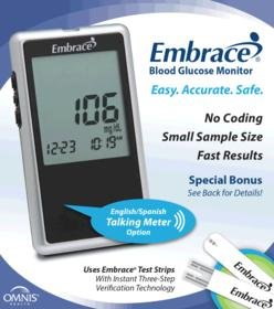 Embrace Blood Glucose Meter Diabetic Test Strips