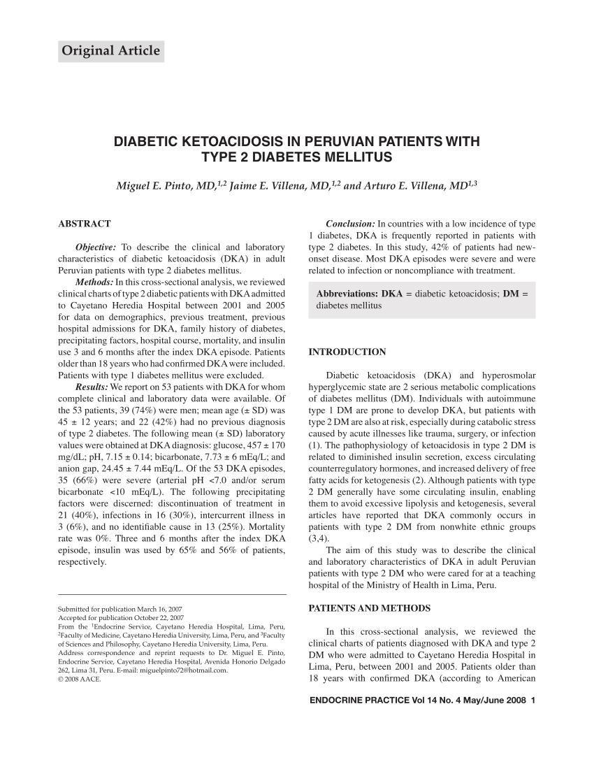 Diabetic Ketoacidosis In Peruvian Patients With Type 2 Diabetes Mellitus