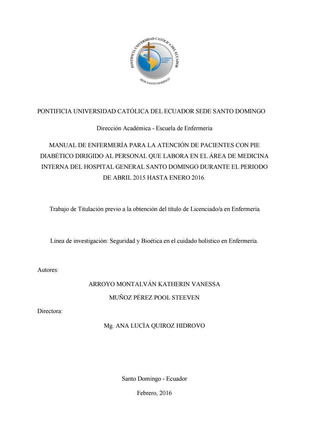 Manual De Enfermera Para La Atencin De Pacientes Con Pie Diabtico By Pontificia Universidad Catlica Del Ecuador Sede Santo Domingo Puce Sd - Issuu