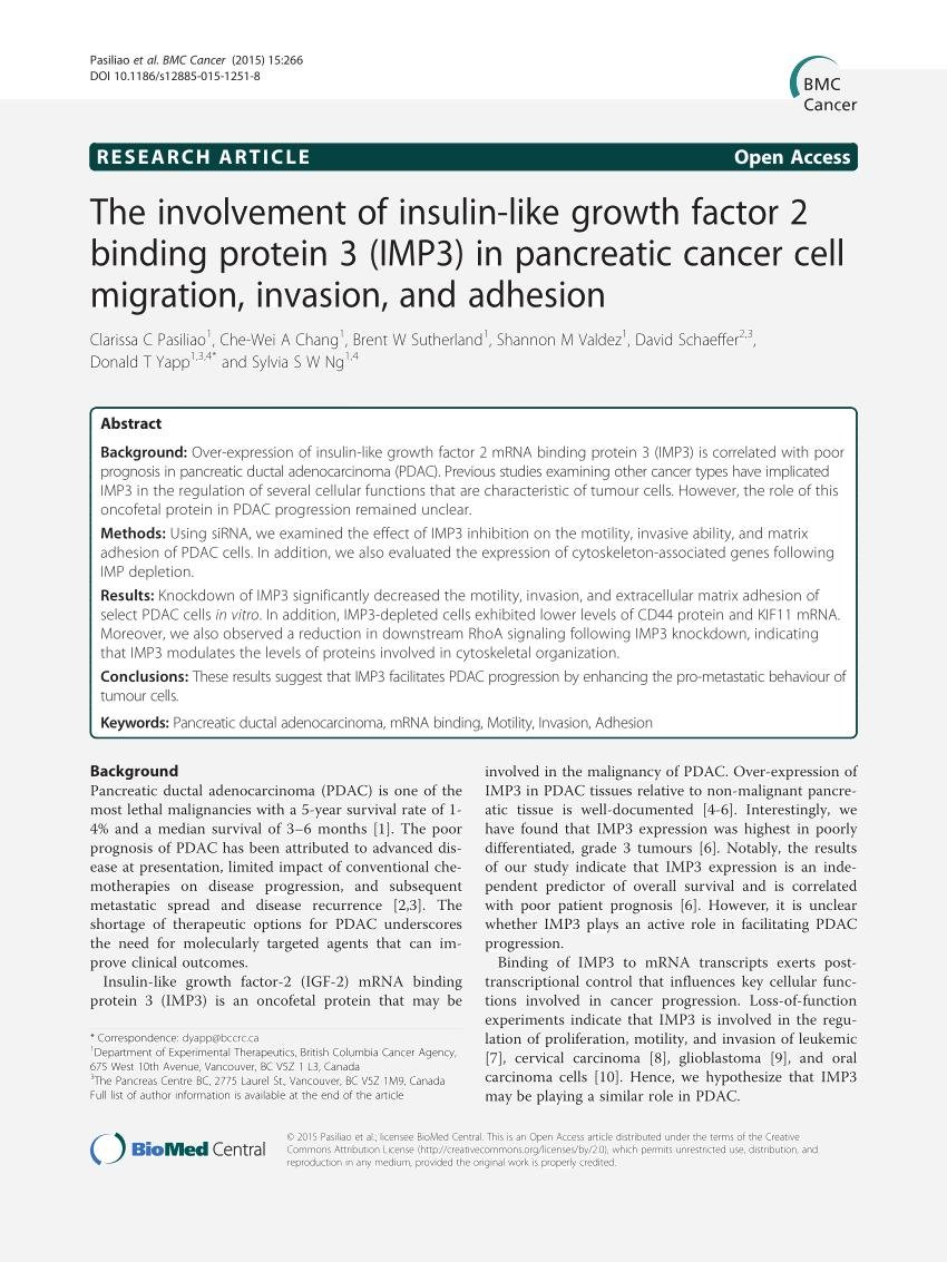 The Involvement Of Insulin-like Growth Factor 2 Binding Protein 3 (imp3) In Pancreatic Cancer Cell Migration, Invasion, And Adhesion