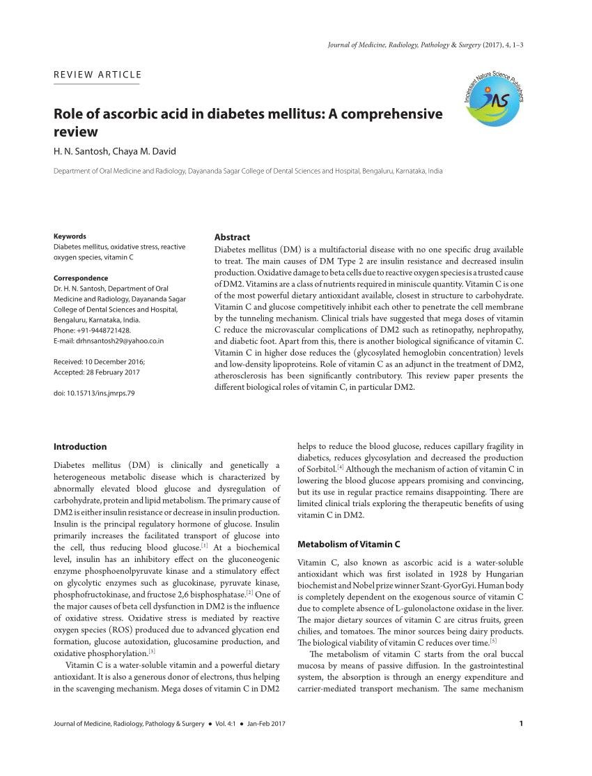 (pdf) Role Of Ascorbic Acid In Diabetes Mellitus: A Comprehensive Review