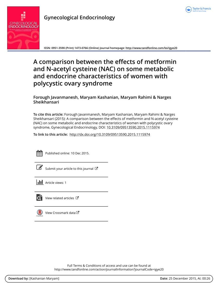 A Comparison Between The Effects Of Metformin And N -acetyl Cysteine (nac) On Some Metabolic And Endocrine Characteristics Of Women With Polycystic Ovary Syndrome