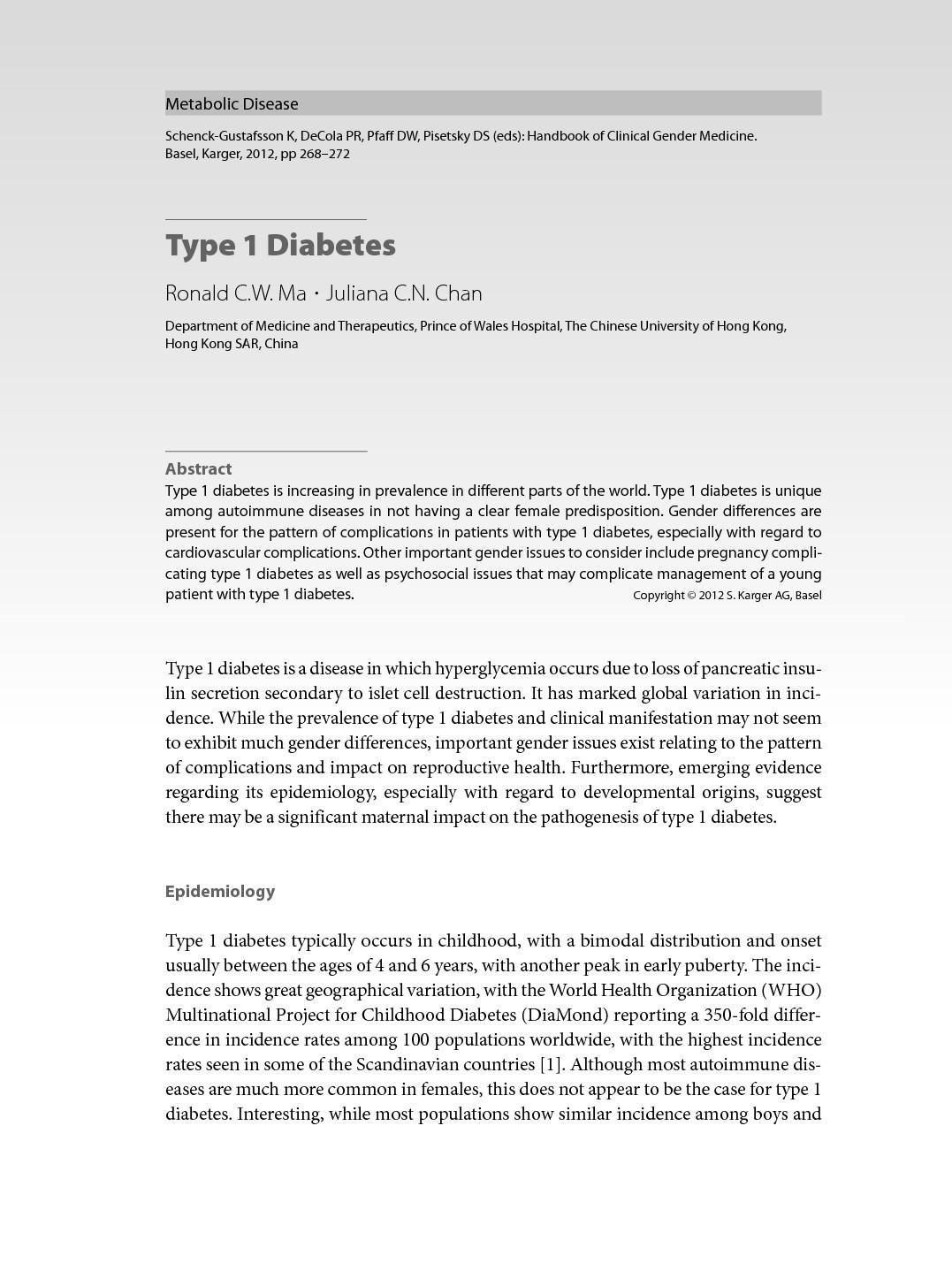 Type 1 Diabetes In China