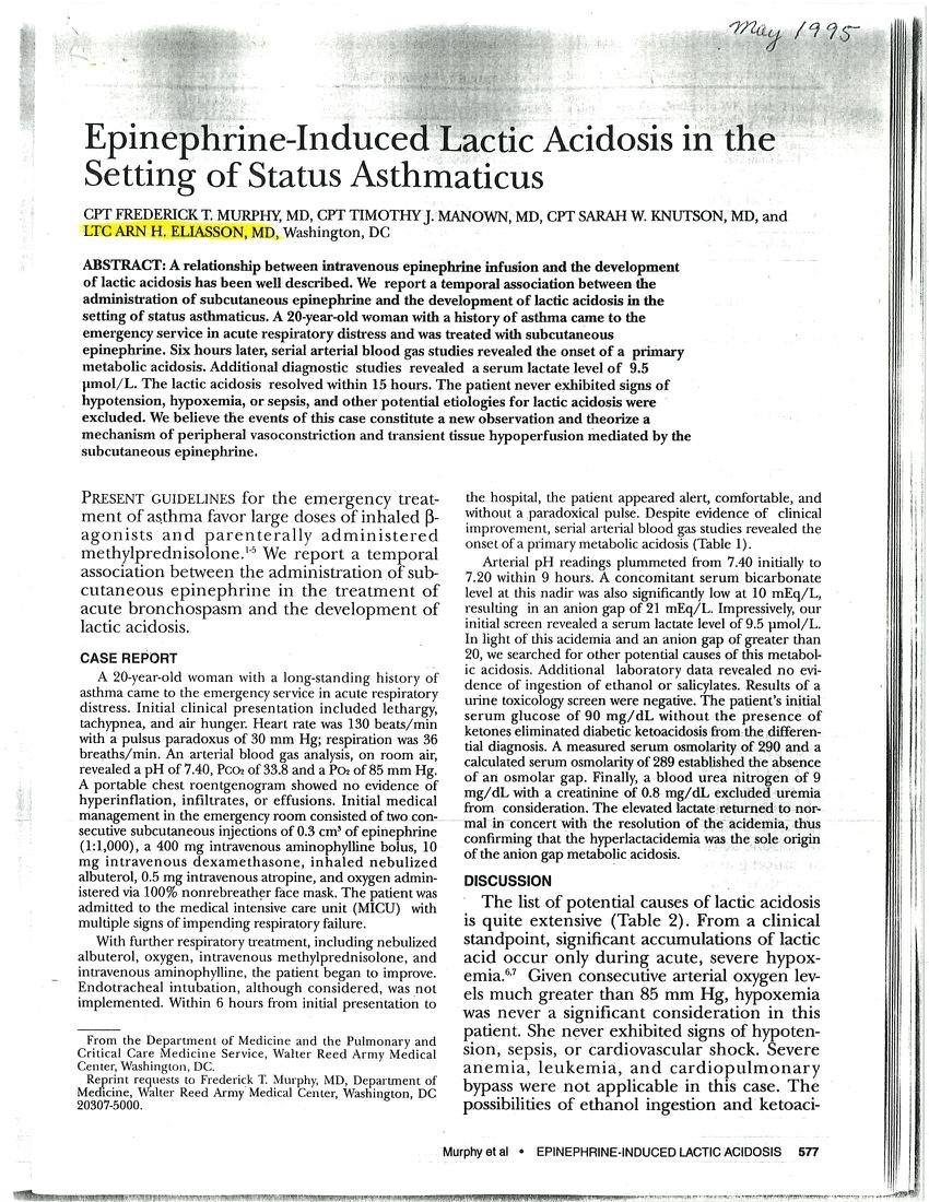 (pdf) Epinephrine-induced Lactic Acidosis In The Setting Of Status Asthmaticus
