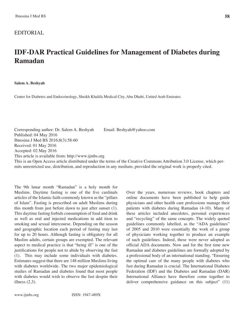 Ramadan And Diabetes Evidence-based Guidelines