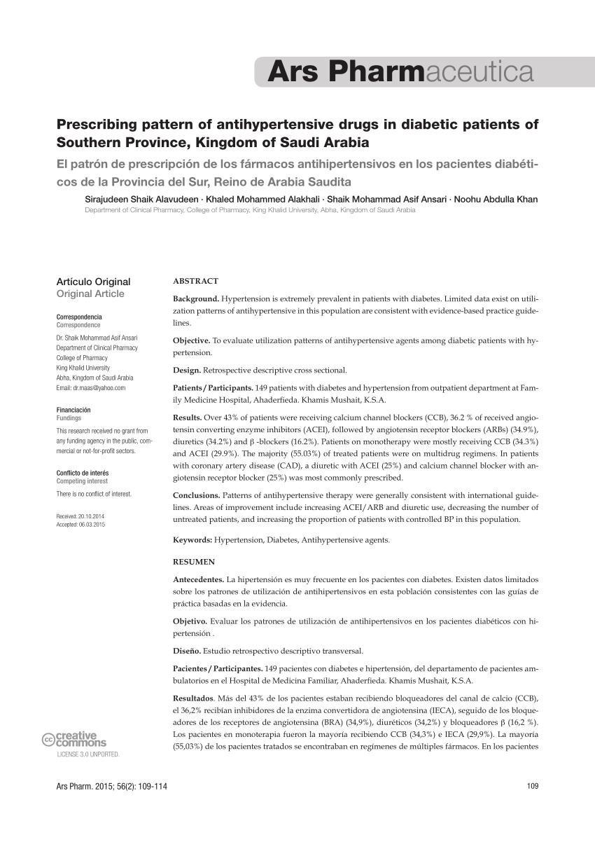 (pdf) Prescribing Pattern Of Antihypertensive Drugs In Diabetic Patients Of Southern Province, Kingdom Of Saudi Arabia