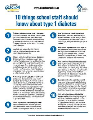 10 Things School Staff Should Know About Type 1 Diabetes