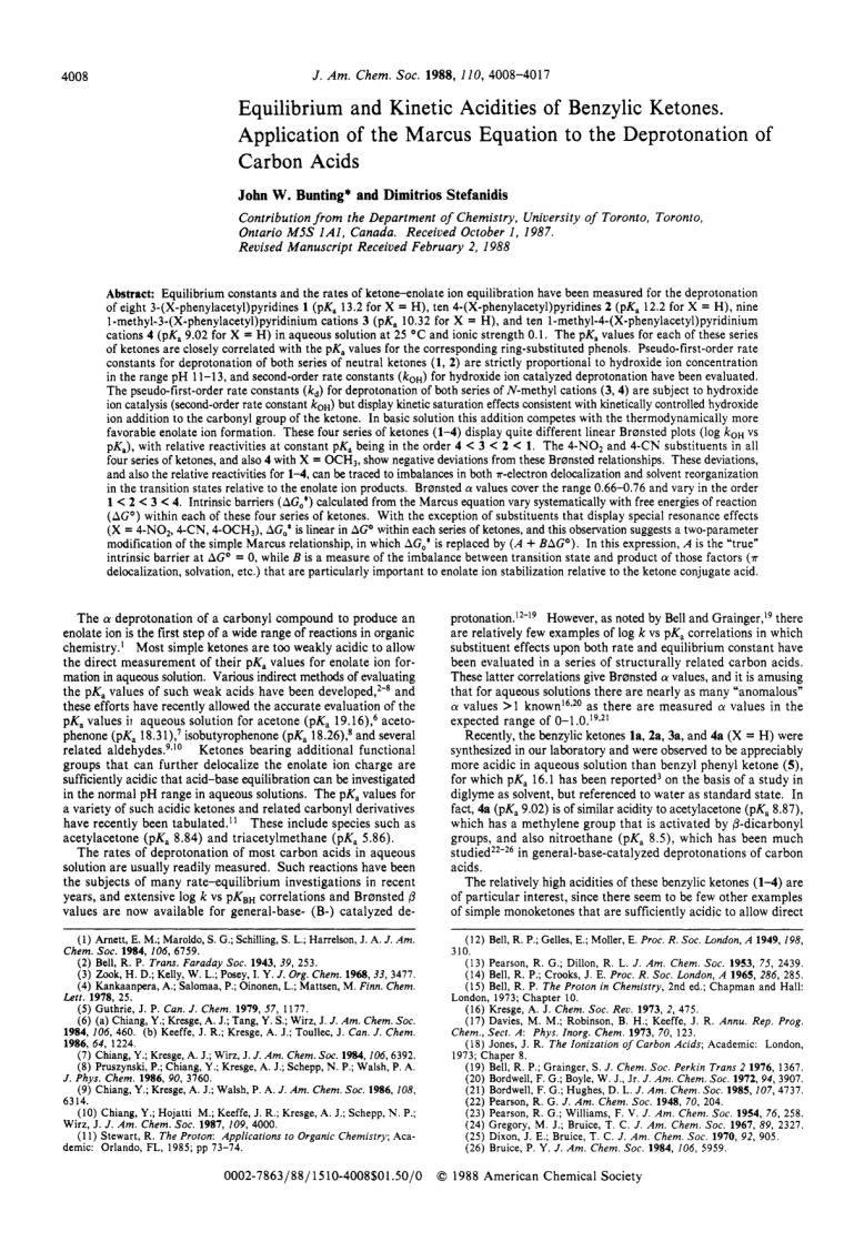 Equilibrium And Kinetic Acidities Of Benzylic Ketones. Application Of The Marcus Equation To The Deprotonation Of Carbon Acids