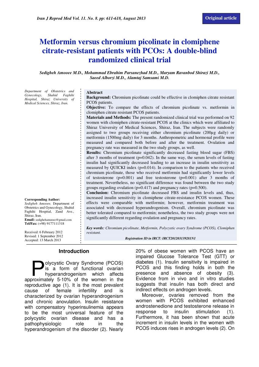 (pdf) Metformin Versus Chromium Picolinate In Clomiphene Citrate-resistant Patients With Pcos: A Double-blind Randomized Clinical Trial
