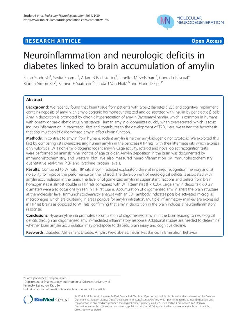 Pdf | Neuroinflammation And Neurologic Deficits In Diabetes Linked To Brain Accumulation Of Amylin