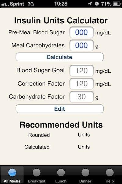 Insulin Units Medical App Provides Simple, User Editable Insulin Calculator