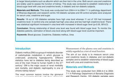High Glucose And Creatinine Levels