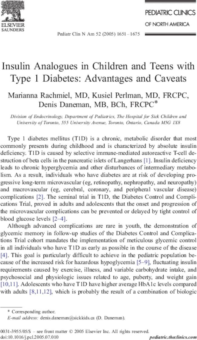 Insulin Analogues In Children And Teens With Type 1 Diabetes: Advantages And Caveats