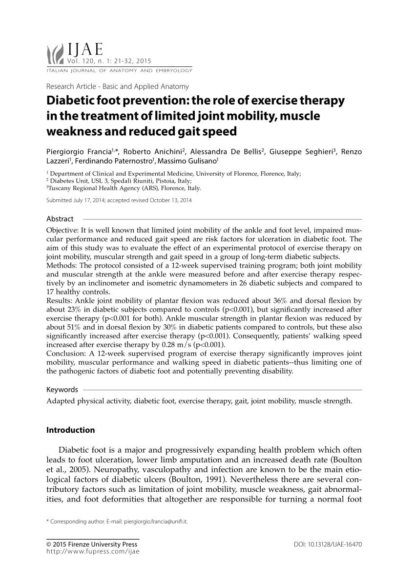 (pdf) Diabetic Foot Prevention: The Role Of Exercise Therapy In The Treatment Of Limited Joint Mobility, Muscle Weakness And Reduced Gait Speed