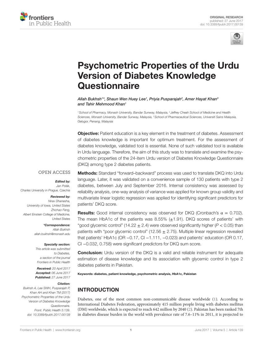 (pdf) Psychometric Properties Of The Urdu Version Of Diabetes Knowledge Questionnaire