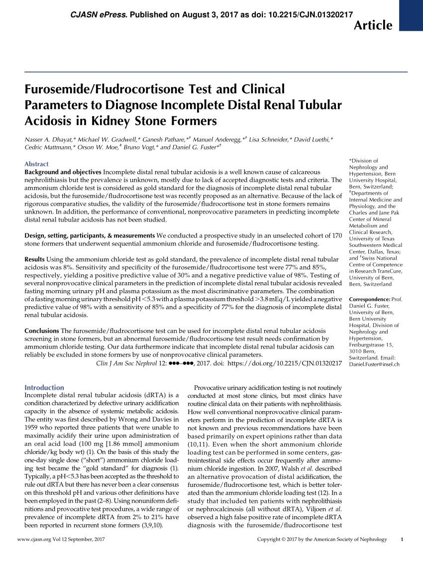 (pdf) Furosemide/fludrocortisone Test And Clinical Parameters To Diagnose Incomplete Distal Renal Tubular Acidosis In Kidney Stone Formers