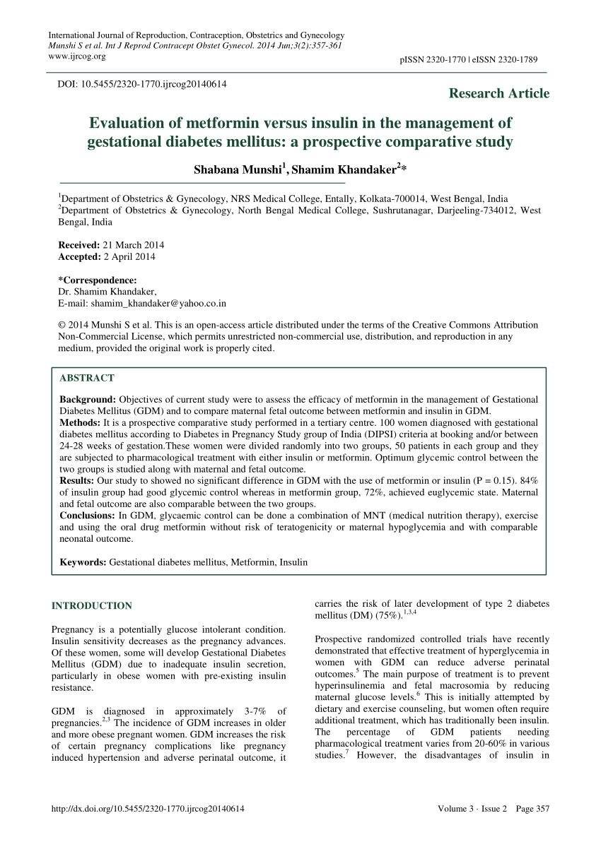 Evaluation Of Metformin Versus Insulin In The Management Of Gestational Diabetes Mellitus: A Prospective Comparative Study