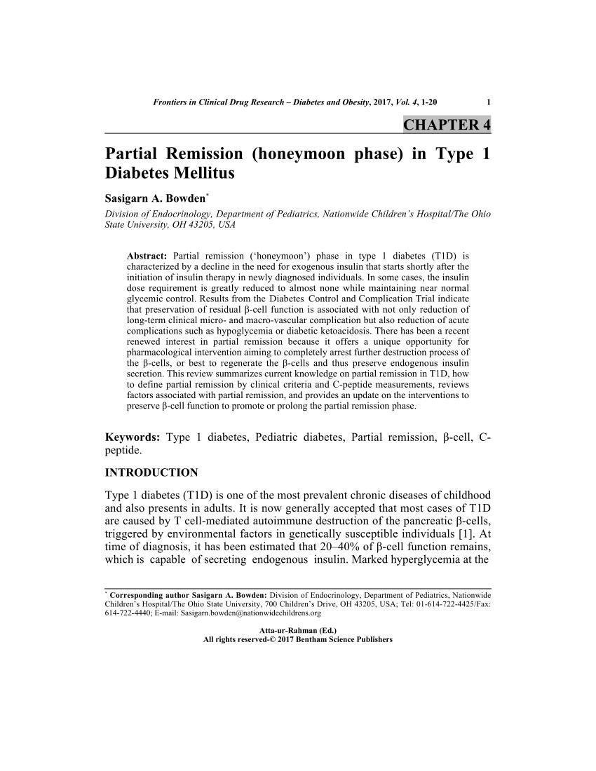 Partial Remission (honeymoon Phase) In Type 1 Diabetes Mellitus