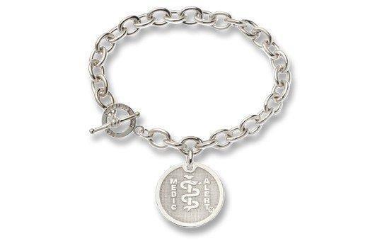 Sterling Silver Charm Bracelet - Medical Alert Bracelets   Medicalert