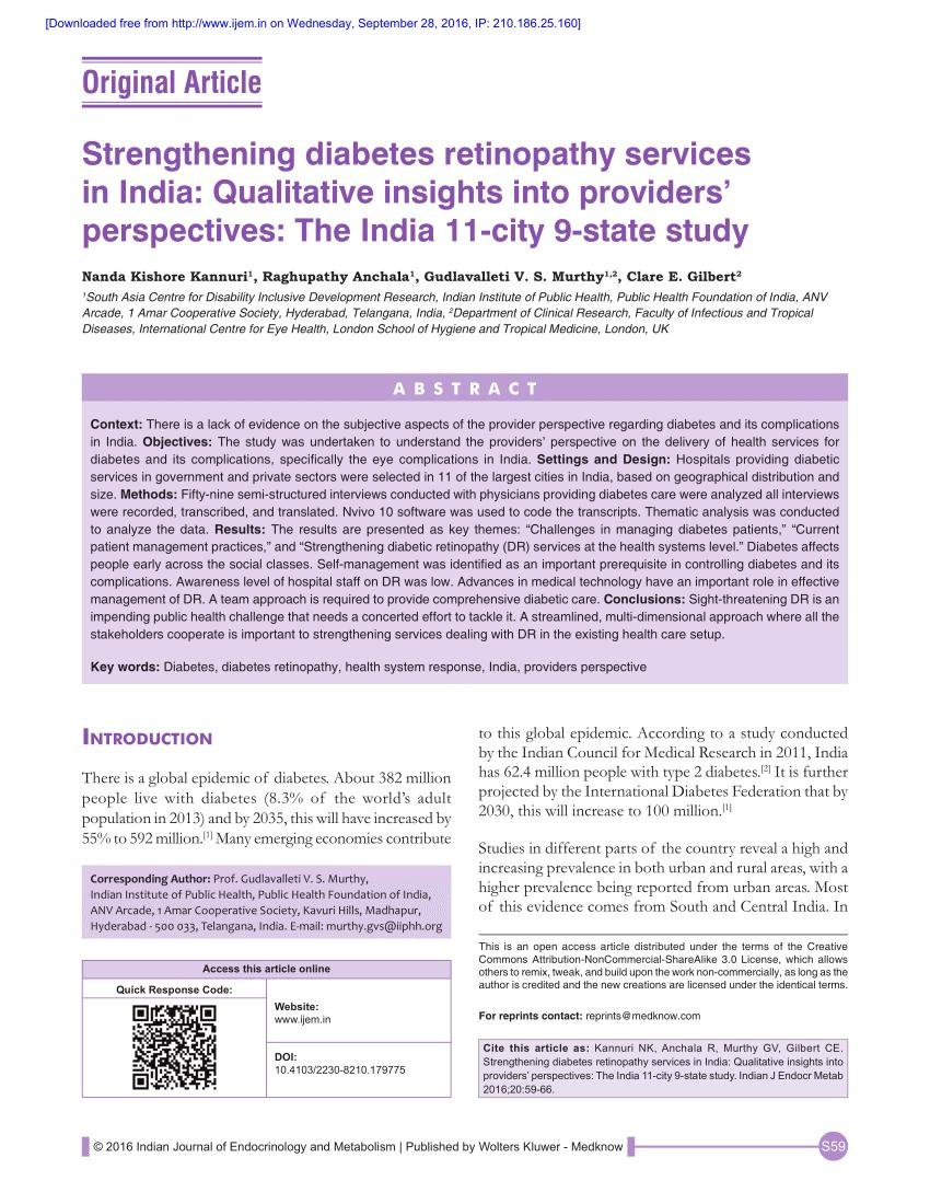 Strengthening Diabetes Retinopathy Services In India: Qualitative Insights Into Providers' Perspectives: The India 11-city 9-state Study