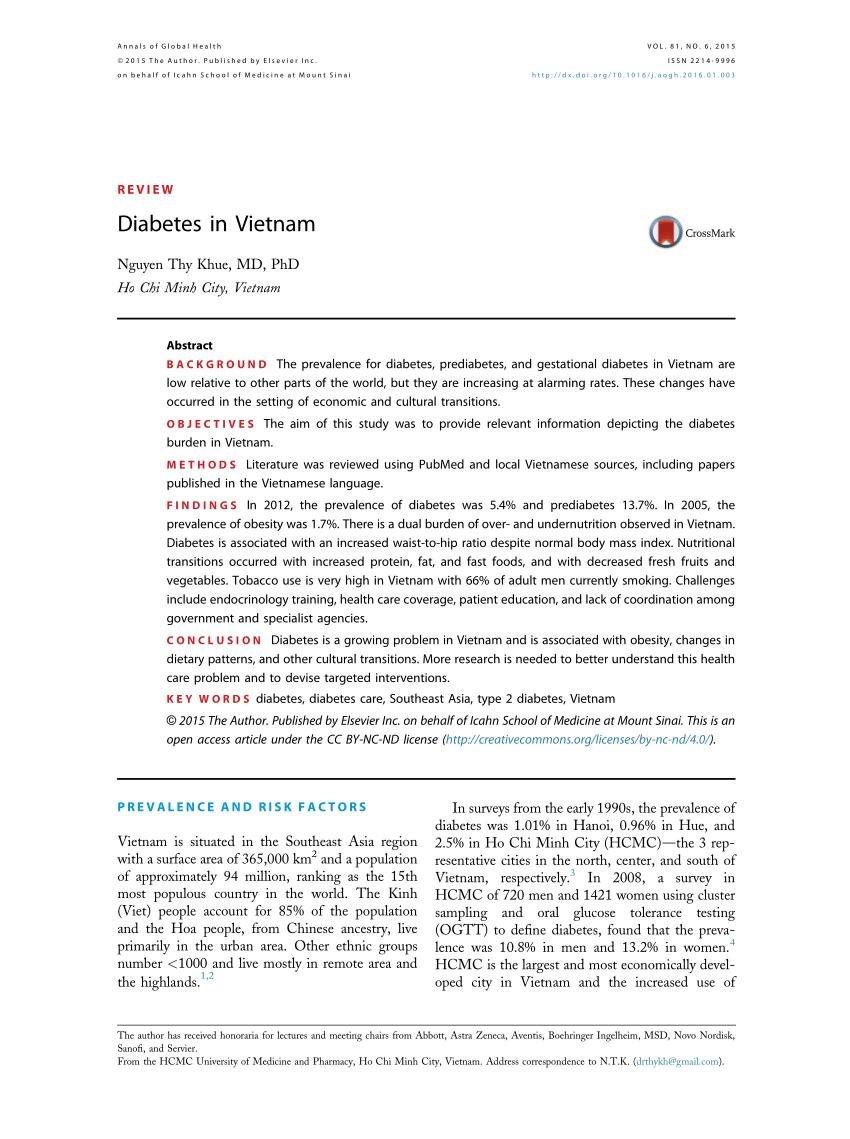 (pdf) Diabetes In Vietnam