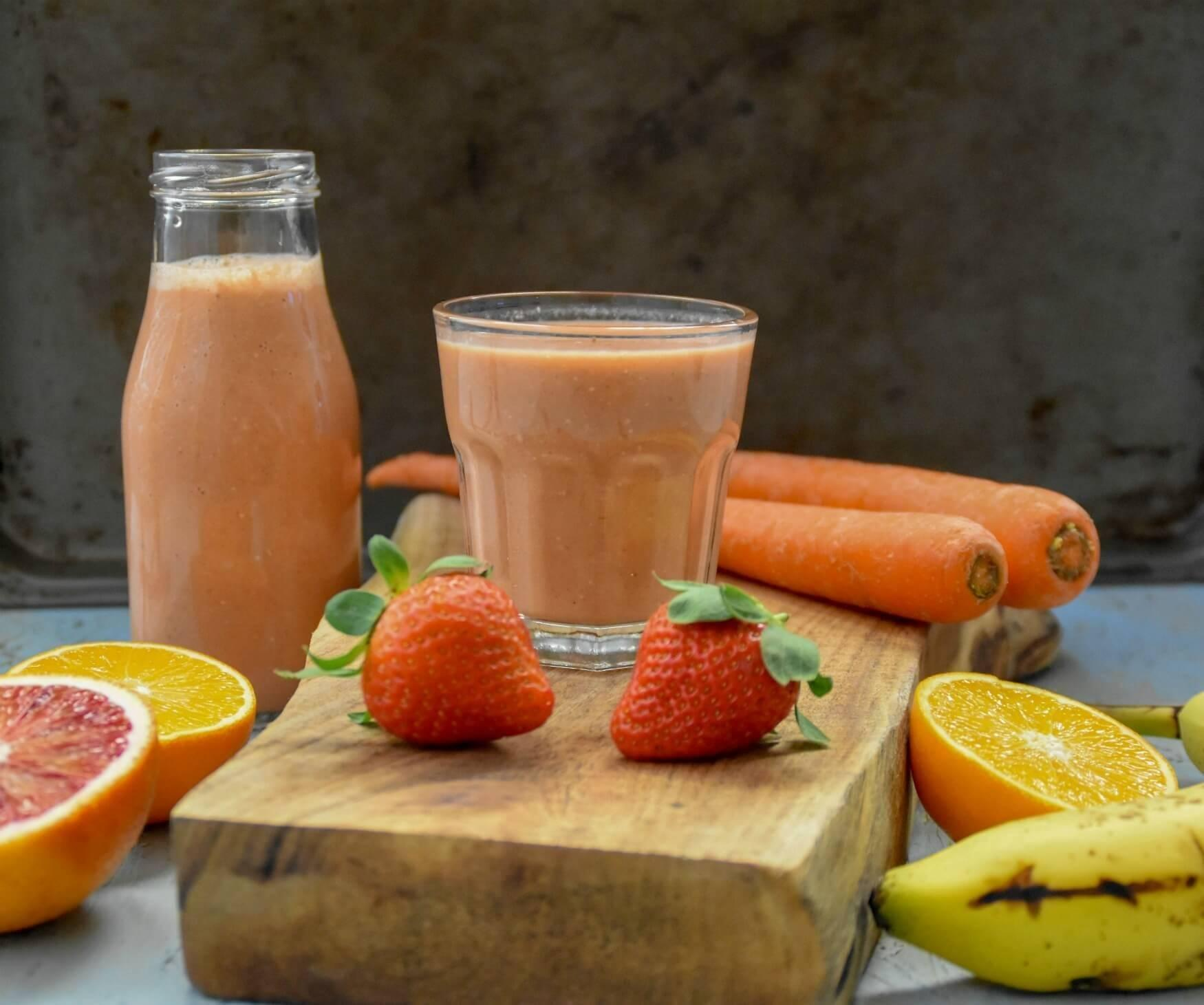 Carrot Blood Orange Strawberry Oatmeal Smoothie: Diabetic Friendly