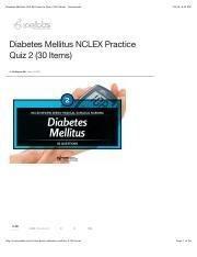 Diabetes Mellitus Nclex Practice Quiz 2 (30 Items) - Nurseslabs