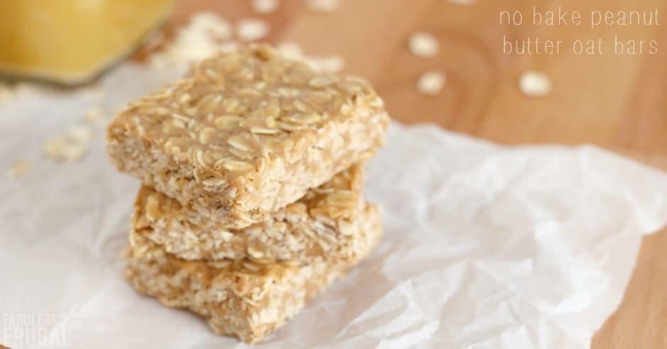 Healthy No Bake Peanut Butter Oat Bars Recipe