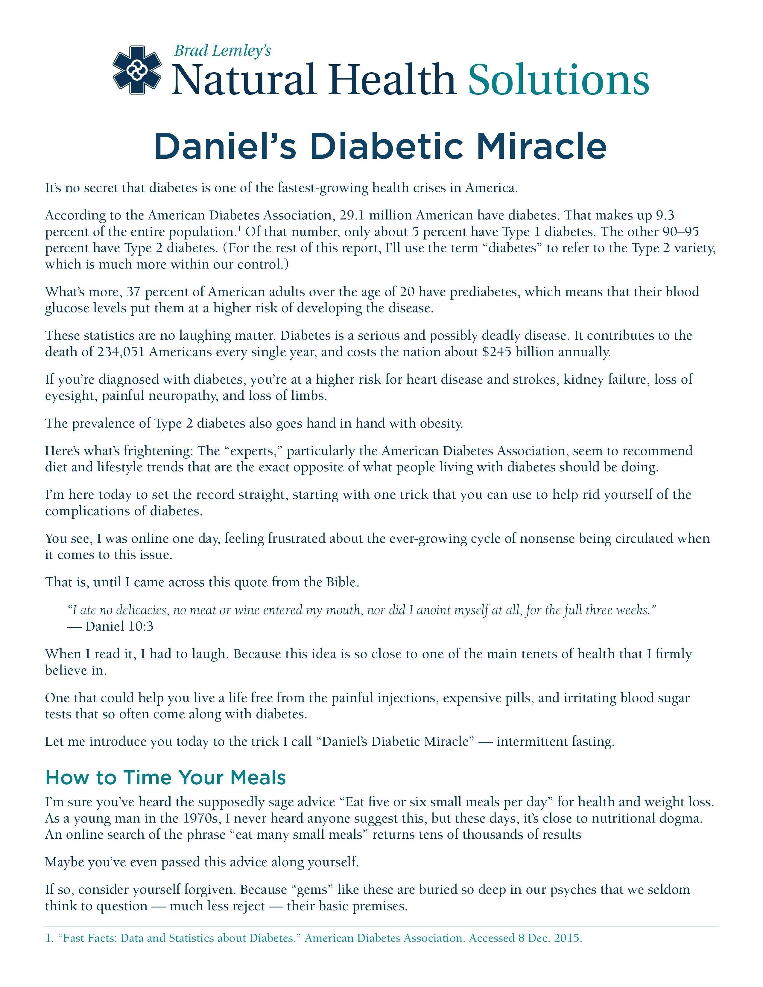 Daniels Diabetic Miracle