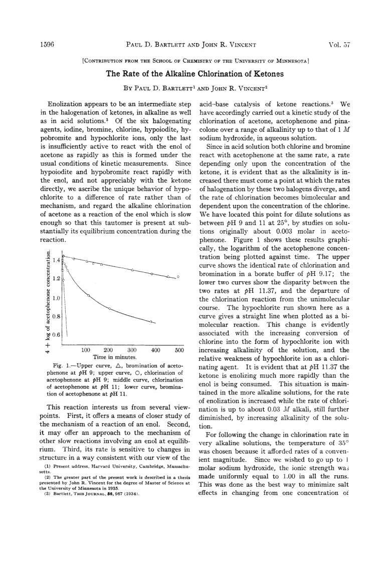 The Rate Of The Alkaline Chlorination Of Ketones