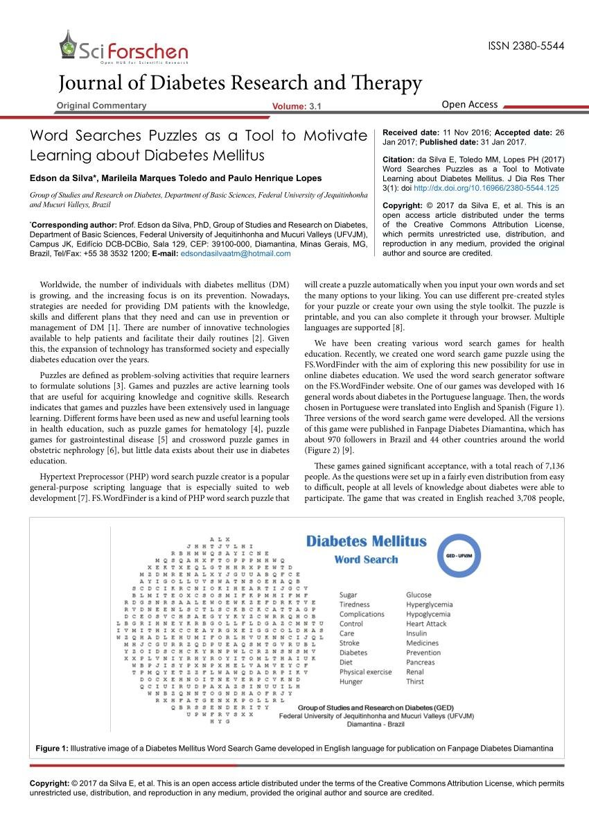 (pdf) Word Searches Puzzles As A Tool To Motivate Learning About Diabetes Mellitus
