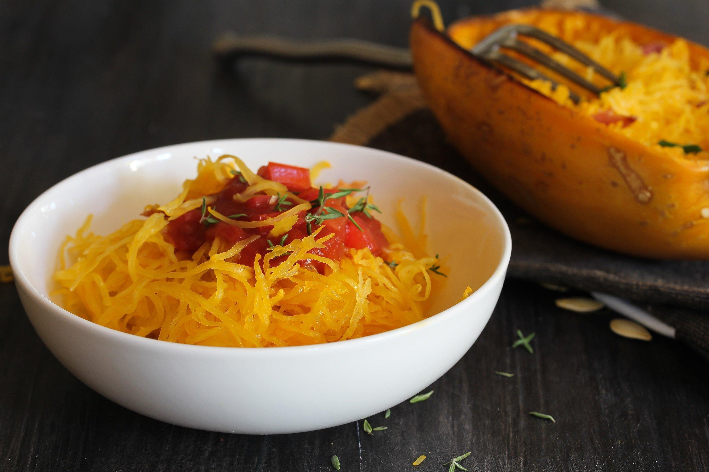 Sauteed Spinach And Tomatoes Over Roasted Spaghetti Squash