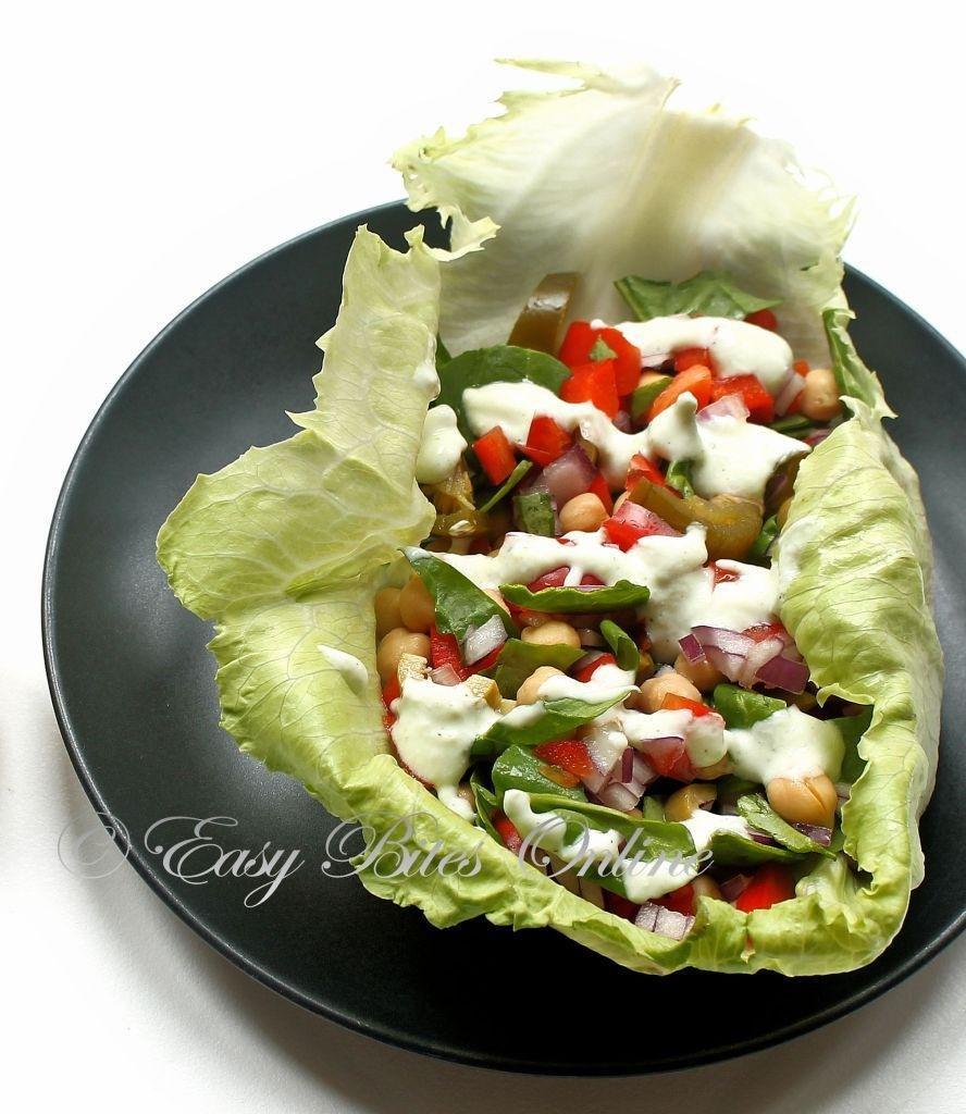 Lettuce Salad Wrap With Tzatziki Sauce Diabetes Friendly