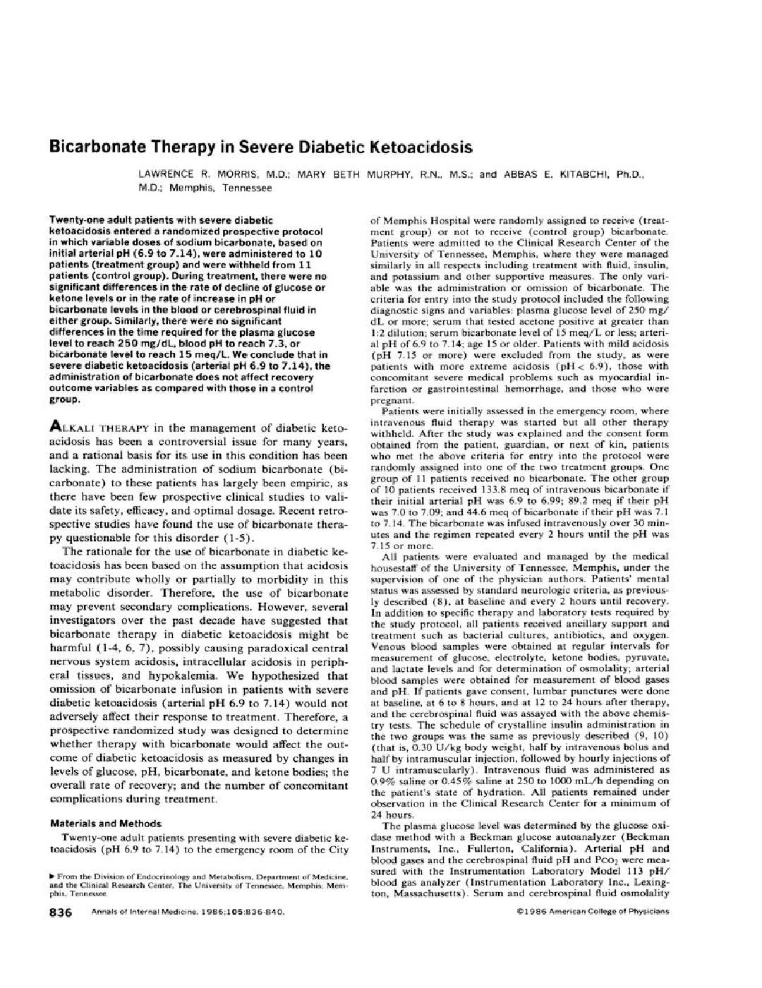 Bicarbonate Therapy In Severe Diabetic Ketoacidosis