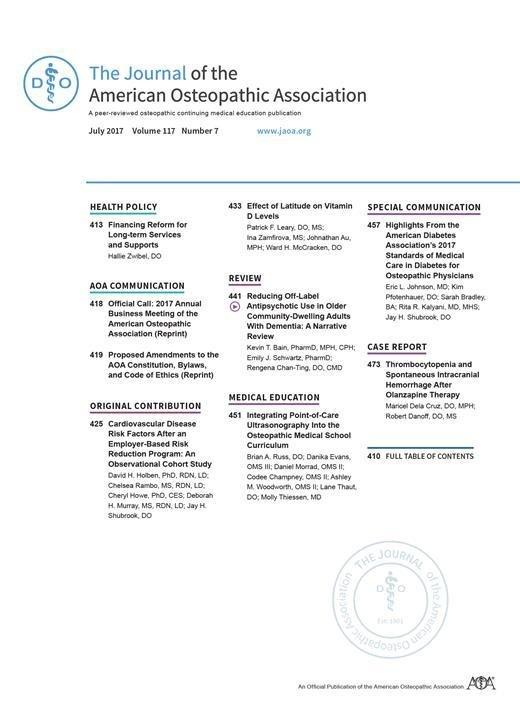 Highlights From The American Diabetes Association's 2017 Standards Of Medical Care In Diabetes For Osteopathic Physicians