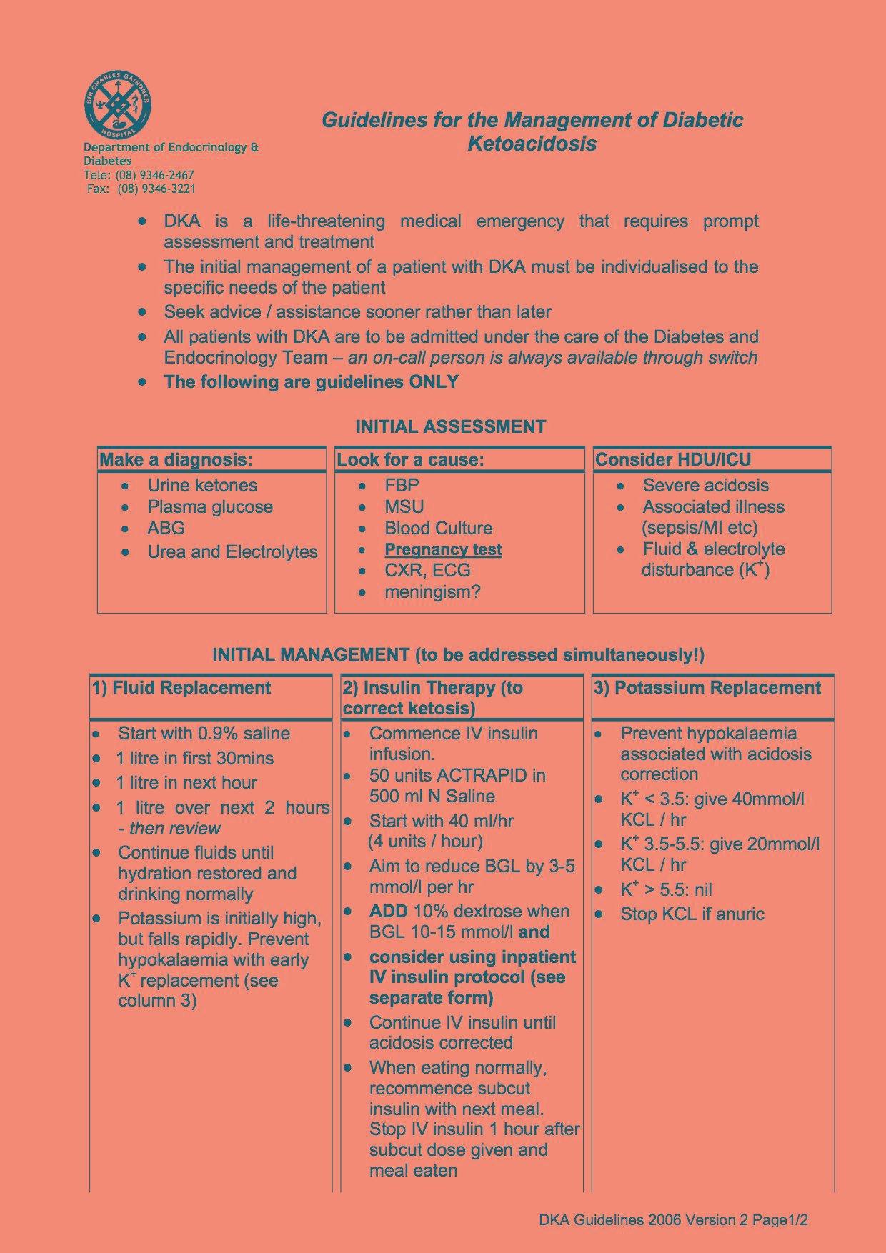 Diabetic Ketoacidosis (dka) Guidelines