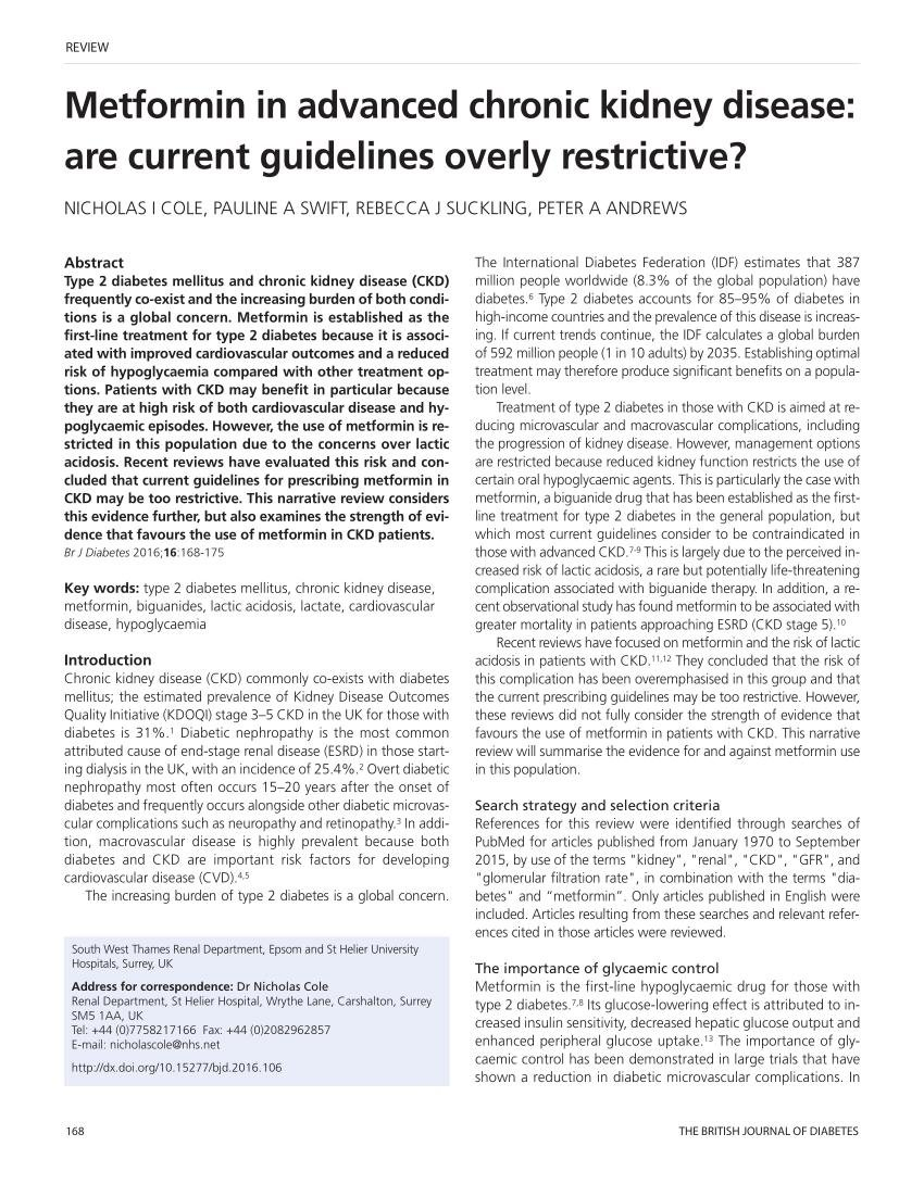 Metformin In Advanced Chronic Kidney Disease: Are Current Guidelines Overly Restrictive?