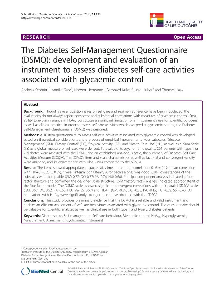 (pdf) The Diabetes Self-management Questionnaire (dsmq): Development And Evaluation Of An Instrument To Assess Diabetes Self-care Activities Associated With Glycaemic Control