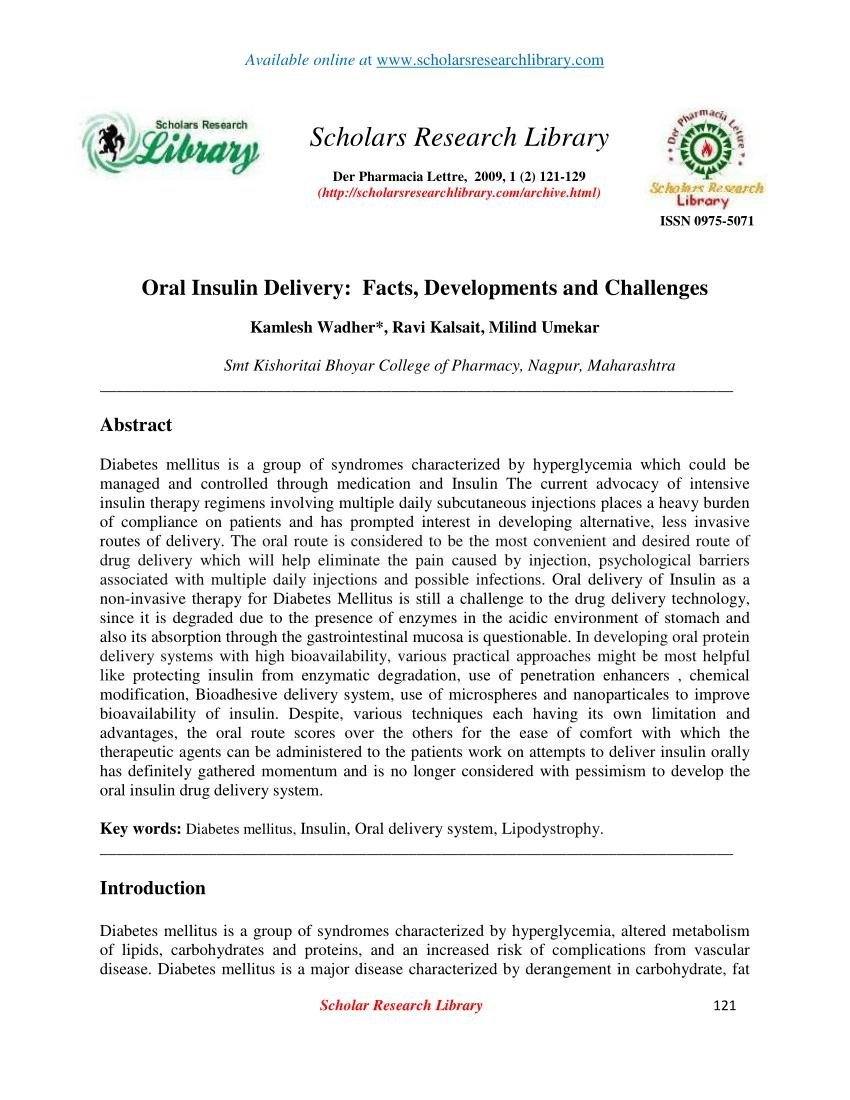 Oral Insulin Delivery Challenges And Current Status