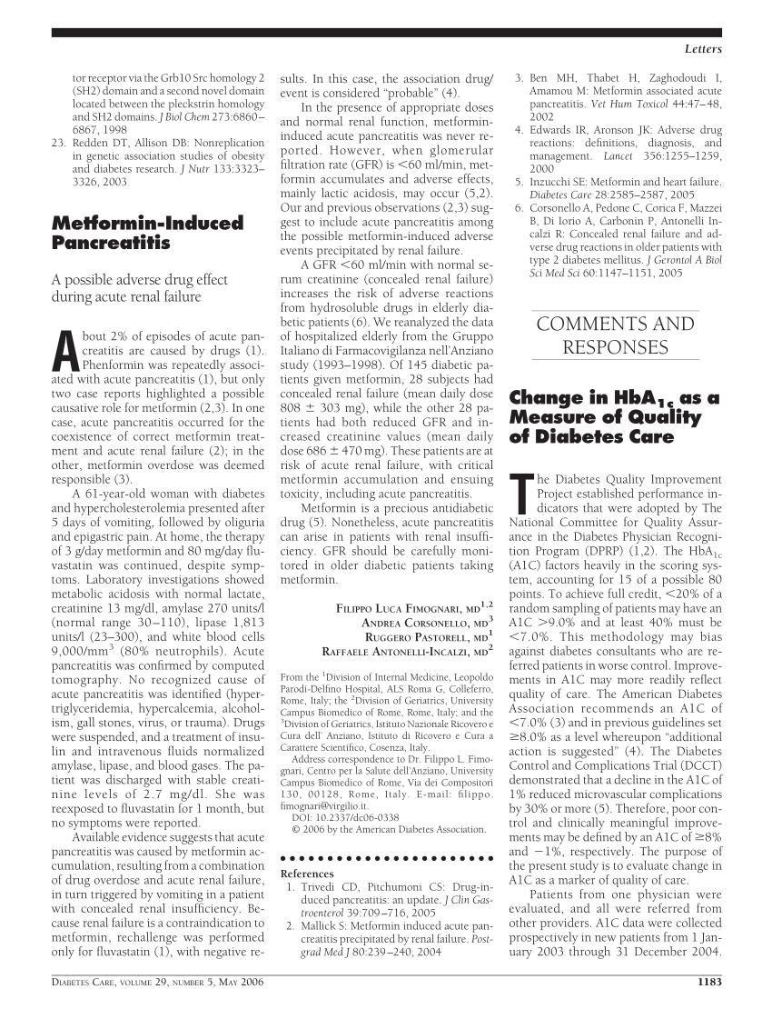 Can Metformin Cause Acute Pancreatitis?