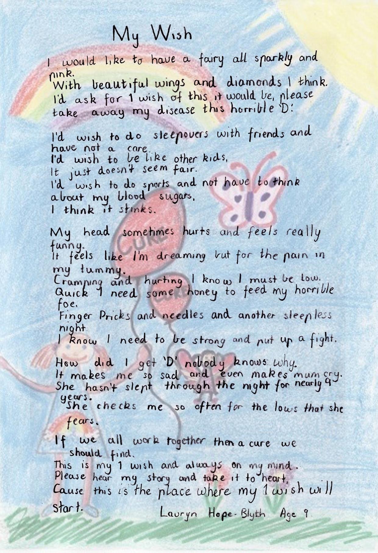 Lauryn's Poem About Type 1 Diabetes