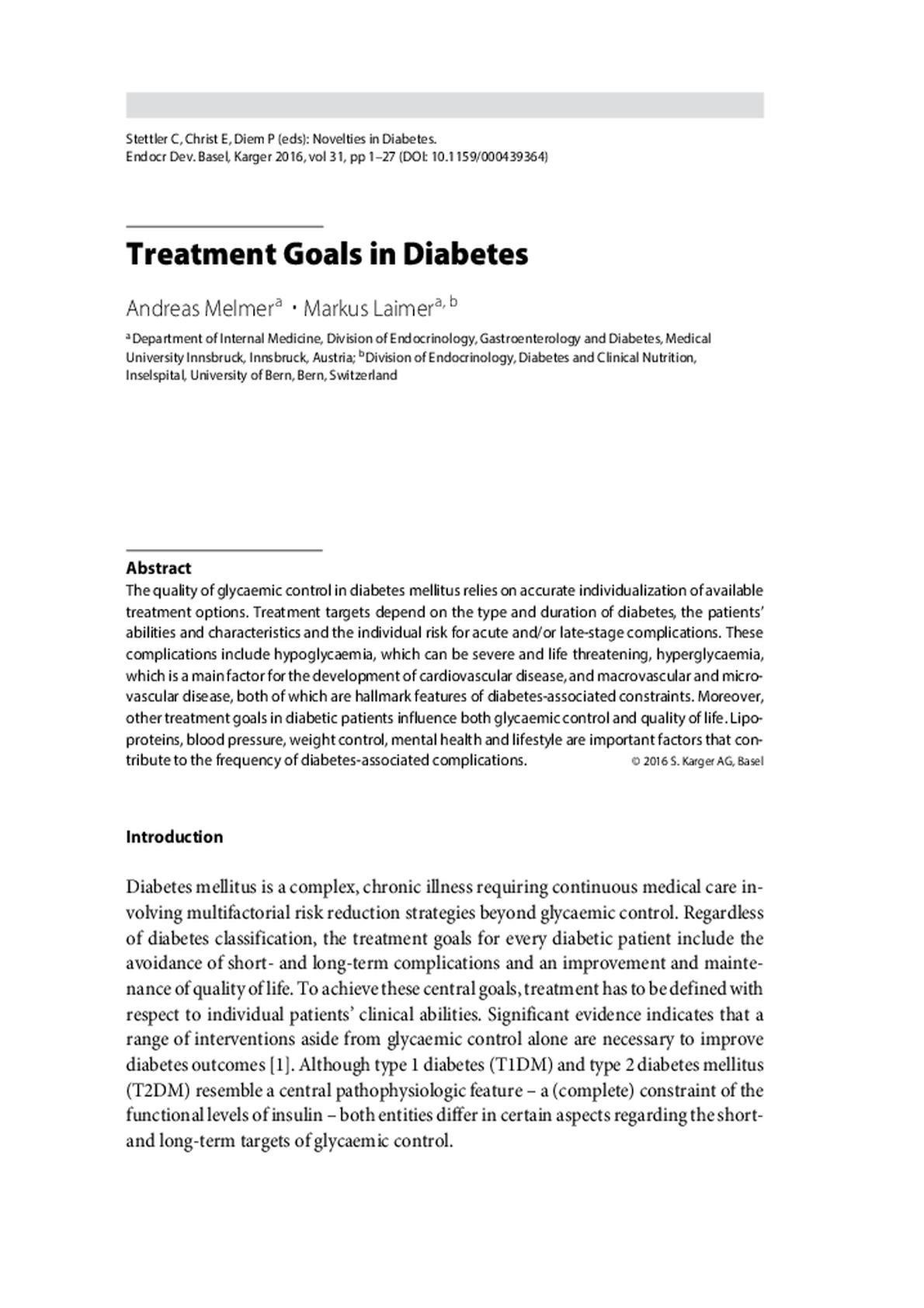 What Is The Goal Of Treating Diabetes?