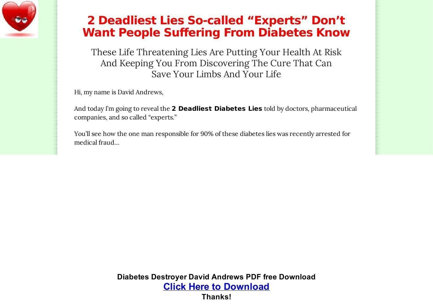 Diabetes Destroyer David Andrews Pdf Free Download By Marie Kelly - Issuu