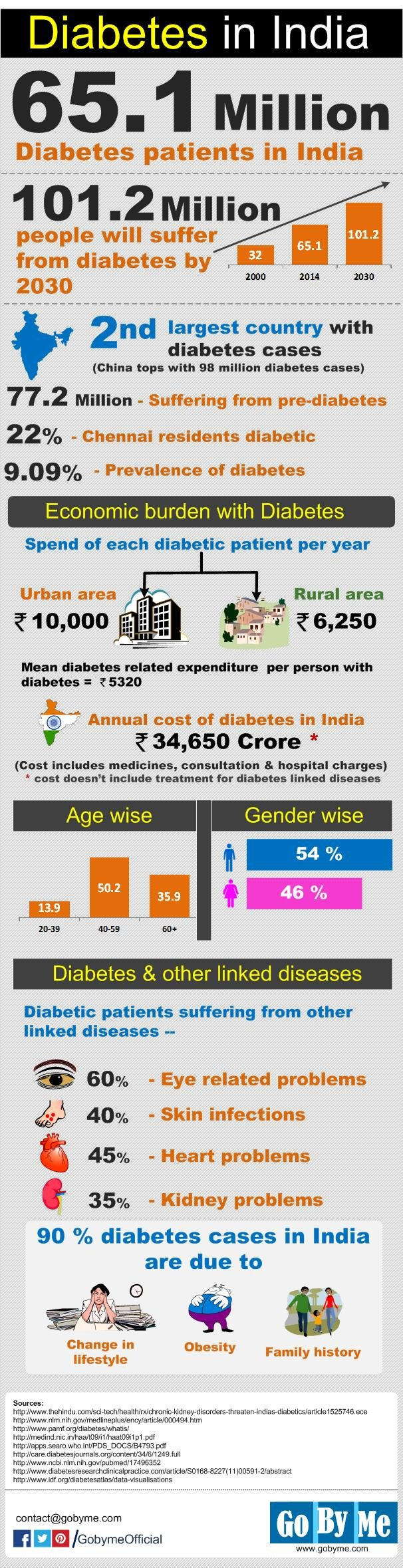 Cost Of Diabetes In India: Age, Gender,spend Of Patients Statistics Infographic