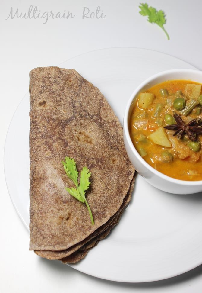 Multigrain Roti Recipe, How To Make Soft Multigrain Roti Or Chapathi