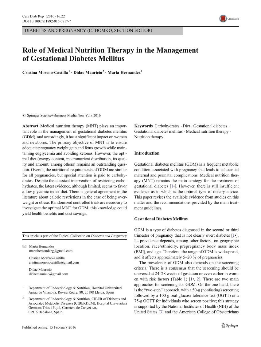 Role of Medical Nutrition Therapy in the Management of Gestational Diabetes Mellitus