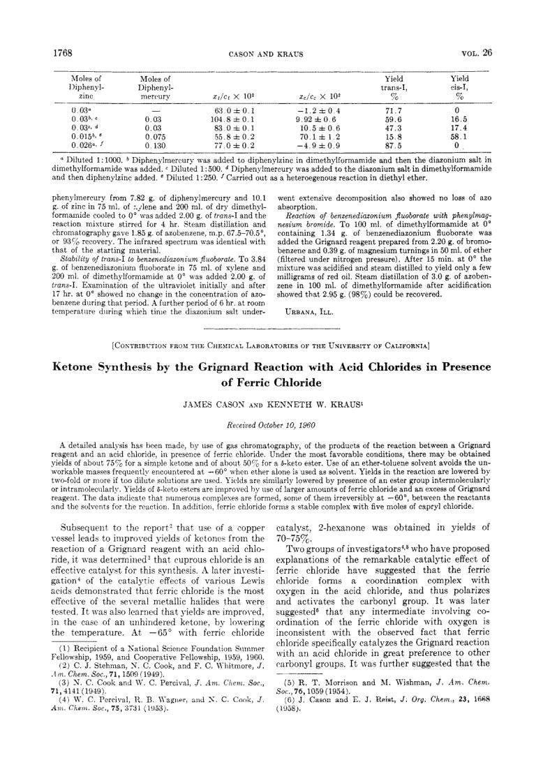 Ketone Synthesis By The Grignard Reaction With Acid Chlorides In Presence Of Ferric Chloride
