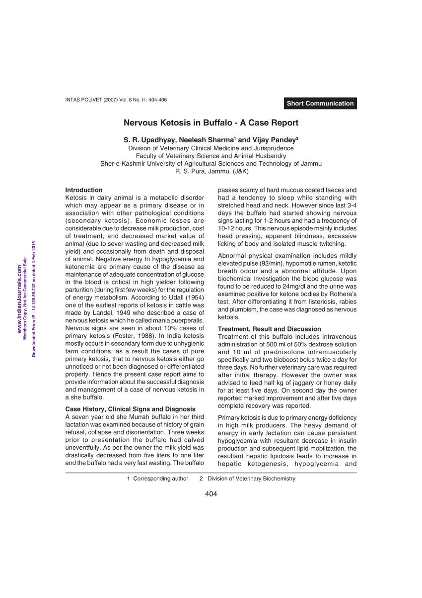 Nervous Ketosis In Buffalo-a Case Report.