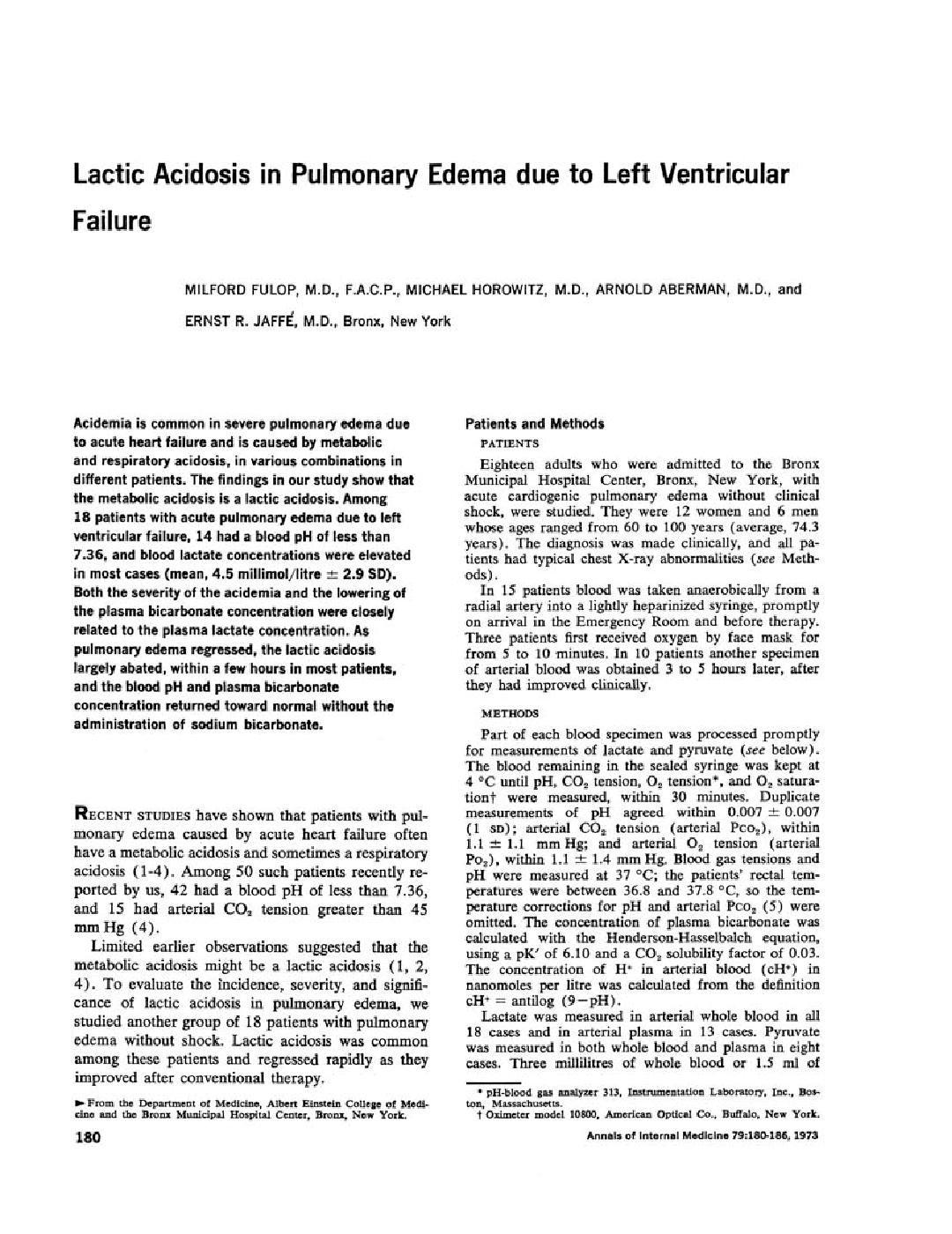 Lactic Acidosis In Pulmonary Edema Due To Left Ventricular Failure