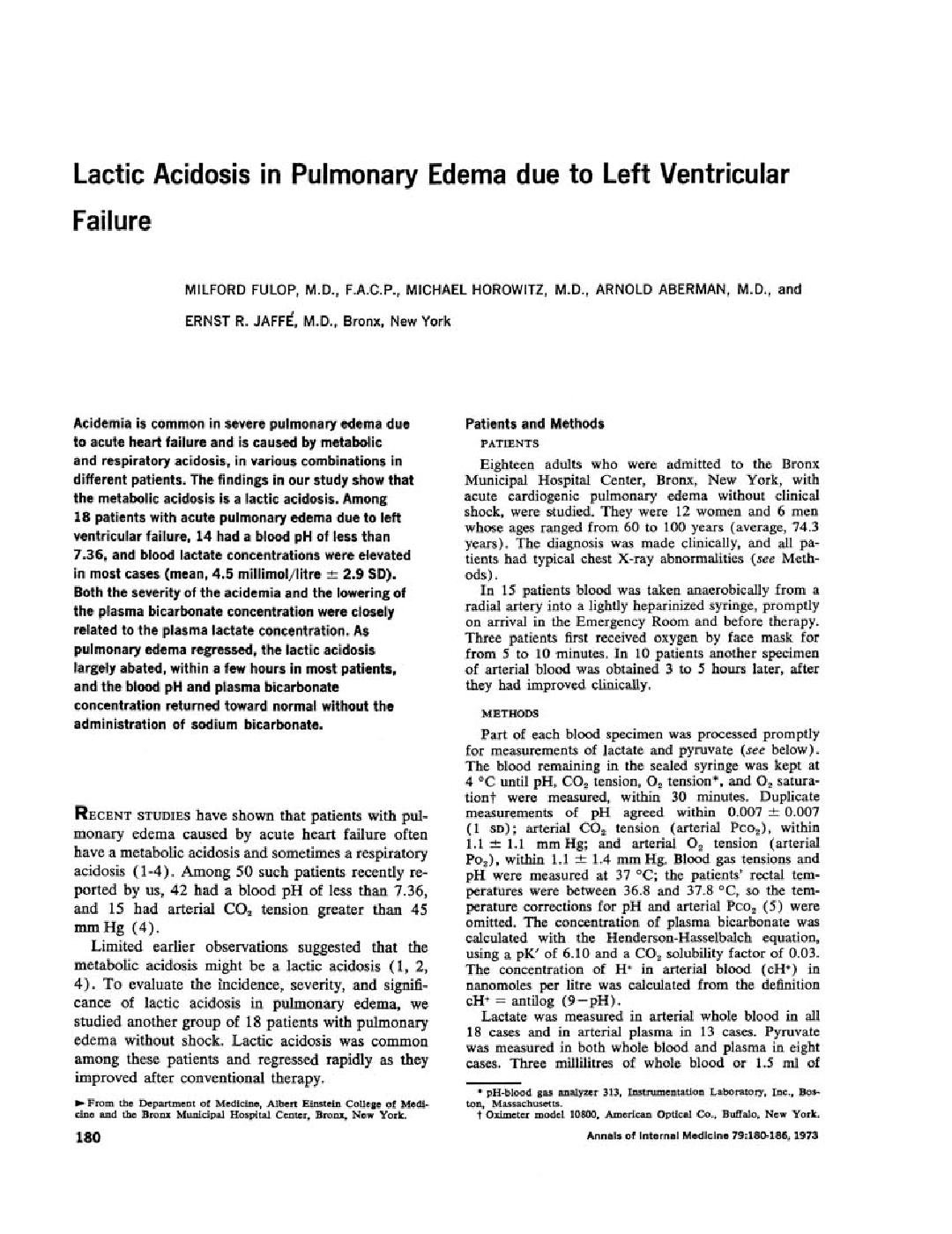 Lactic Acidosis And Heart Failure